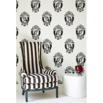 Graham & Brown Barbara Hulanicki Flock Antoinette Wallpapera in Black / White