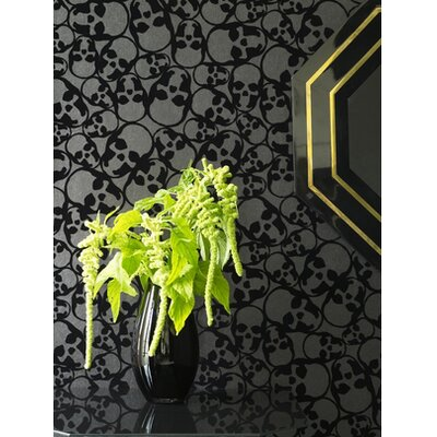 Graham &amp; Brown Barbara Hulanicki Flock Skulls Wallpaper in Black