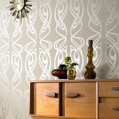 Graham & Brown Diva Oyster Geometric Foiled Wallpaper