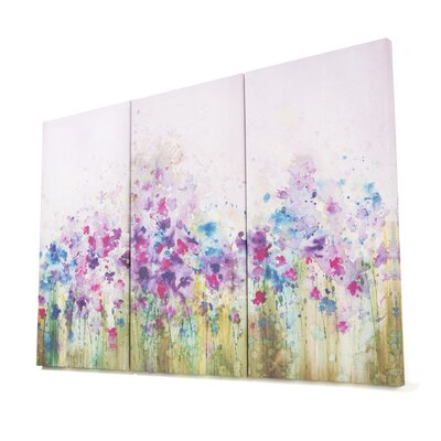Graham & Brown Gallery Watercolor Meadow 3 Piece Original Painting on Canvas Set