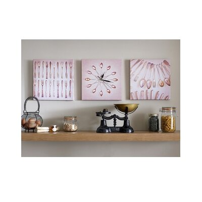 Kitchen Cutlery Clock 3 Piece Graphic Art on Canvas Set