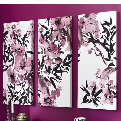 Graham & Brown Kyoto Cherry Blossom 3 Piece Painting Print on Canvas Set