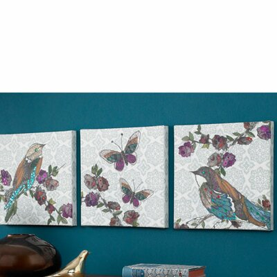 Bird 3 Piece Graphic Art on Canvas Set