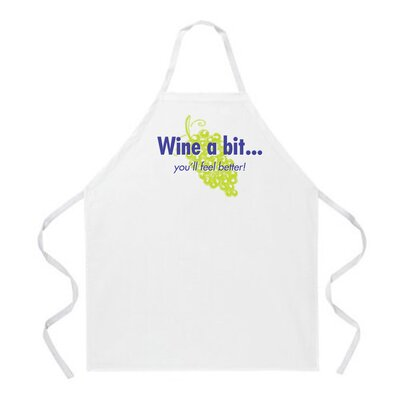Attitude Aprons by L.A. Imprints Wine a Bit Apron in Natural