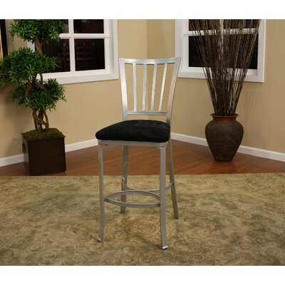 American Heritage Alexa Stool in Silver with Black Microfiber