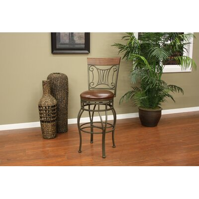 American Heritage Helena Stool in Bronze with Brick Leather