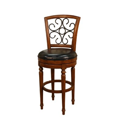 American Heritage Fosteria Stool in Hazelnut with Black Leather