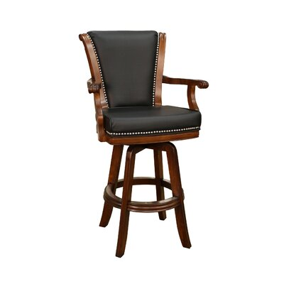 American Heritage Napoli Stool with Black Leather