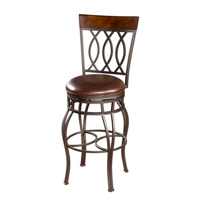 American Heritage Bella Stool in Pepper with Bourbon Leather