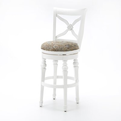 Livingston Stool in Bright White with Blue Brown Fabric