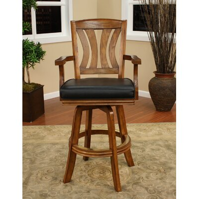 American Heritage Bradbury Stool in Vintage Oak with Black Leatherette