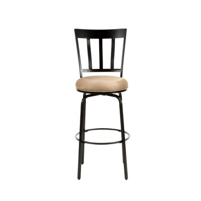 American Heritage Skyline Stool in Black with Coffee Microfiber