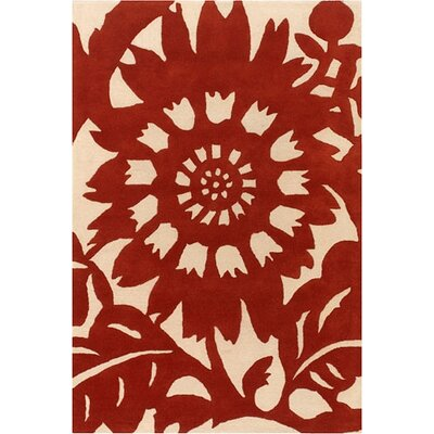 Tufted Pile Persimmon/Cream Zinnia Rug