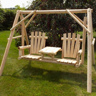 Moon Valley Rustic Tete A Tete Porch Swing With Stand