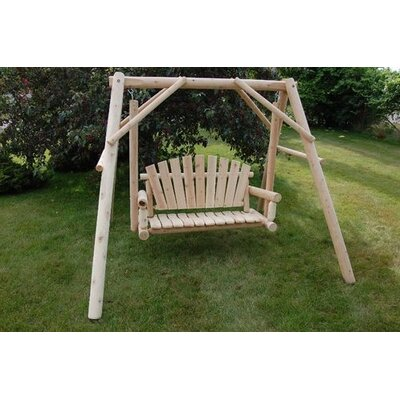 Moon Valley Rustic Lawn Porch Swing with Stand