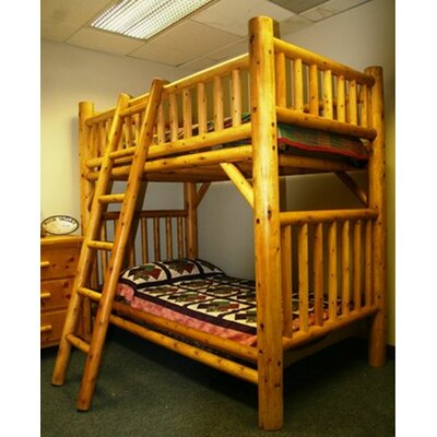 Traditional Cedar Log Bunk Bed with Built-In Ladder | Wayfair