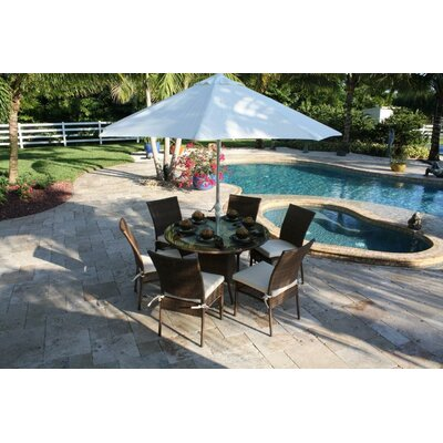 Hospitality Rattan Grenada Patio 7 Piece Round Glass Dining Set