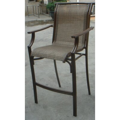 Hospitality Rattan Chub Cay Patio Sling 4 Piece Stackable Barstool Set in Dark Bronze