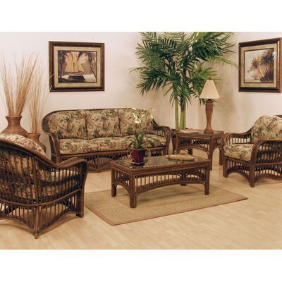 Hospitality Rattan St. Lucia 5 Piece Rattan and Wicker Deep Seating Group