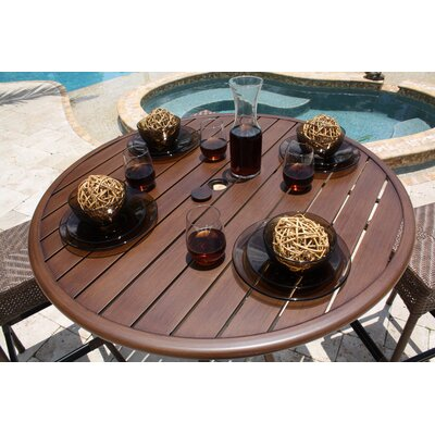 Hospitality Rattan Outdoor Slatted Aluminum Round Pub Bar Table