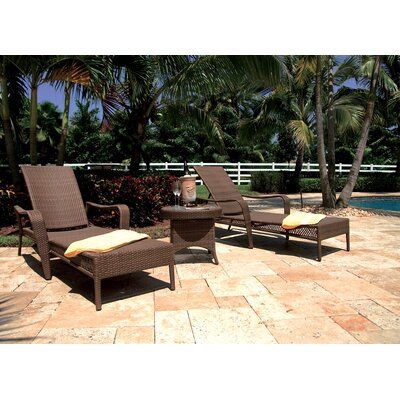 Hospitality Rattan Grenada Patio Chaise Lounge and End Table Set  with Cushion