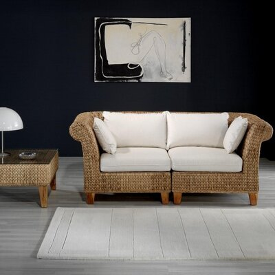 Hospitality Rattan Seagrass Loveseat with Cushions