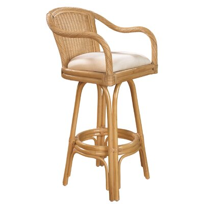 "Hospitality Rattan Key West Indoor Rattan 30"" Swivel Bar Stool in Natural Finish"
