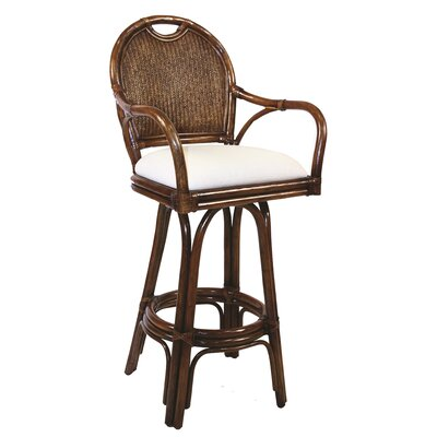 "Hospitality Rattan Classic Indoor Rattan 24"" Swivel Bar Stool in TC Antique Finish"