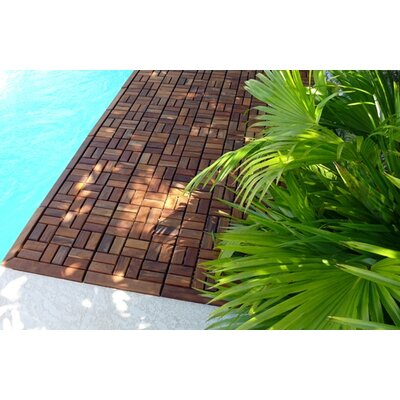 Infinita Corporation Le Click Flex Teak Interlocking Decking Tiles in Oiled Finish (Set of 10)