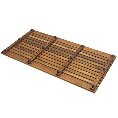 Infinita Corporation Le Spa Rectangular Teak Shower Floor and Tile in Oiled Finish