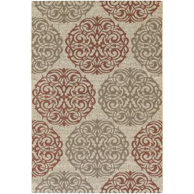 Couristan Five Seasons Cream/Coral Red Montecito Rug