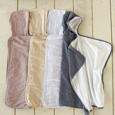 Coyuchi Mini Stripe Cotton and Linen Hooded Towel Baby