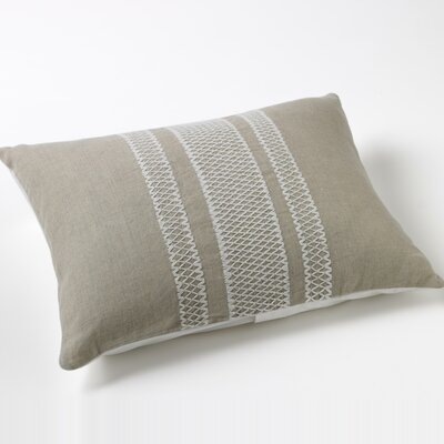 Coyuchi Labyrinth Embroidered Natural Linen Decorative Pillow