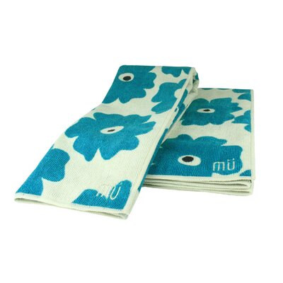 MU Kitchen MUmodern Set (Two Towels and One Cloth) in Blue Poppy