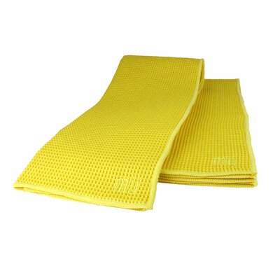 "MU Kitchen MUmodern Waffle 16"" x 24"" Microfiber Dish Towel in Lemon (Set of 2)"