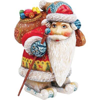 Hand-Crafted Downhill Santa Statue