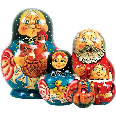 Russia 5 Piece Golden Egg Nested Doll Set