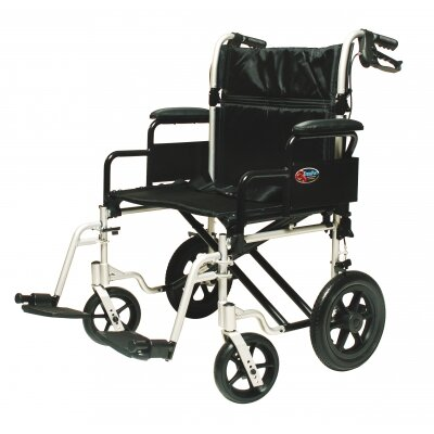 Bariatric Aluminum Transport Chair in Silver