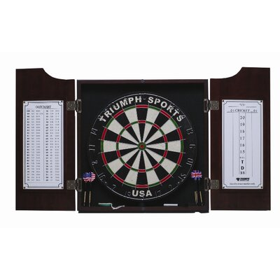 Triumph Sports USA Solid Pine Dartboard Cabinet in Mahogany Finish