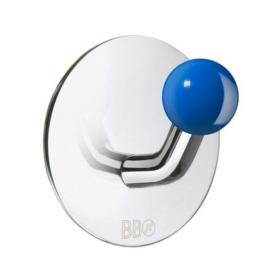 Smedbo Beslagsboden Single Hook with Blue Knob in Polished Stainless Steel