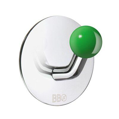 Smedbo Beslagsboden Single Hook with Green Knob in Polished Stainless Steel