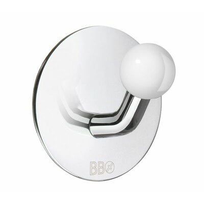 Smedbo Beslagsboden Single Hook with White Knob in Polished Stainless Steel