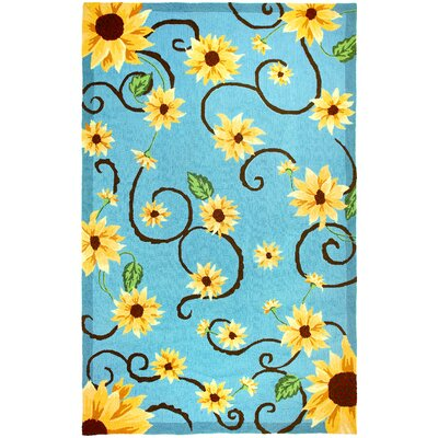 Sunflowers  On Blue Rug