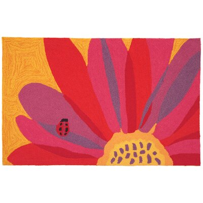 Homefires Ladybug On Pink Sunflower Rug