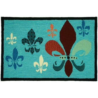 Homefires Potpourri Teal/Brown Fancy Fleur De Lis Rug