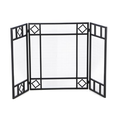 Uniflame Corporation 3 Panel Wrought Iron Fireplace Screen with Diamond Design