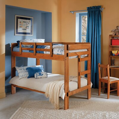 Rustic Twin over Twin Bunk Bed with Reversable Stairs and Storage