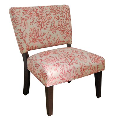 Floral Fabric Gigi Accent Chair In Salmon Jpg