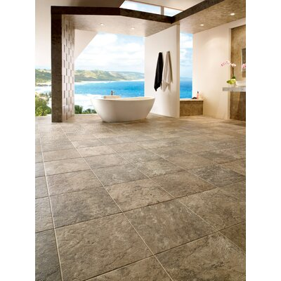"Armstrong Alterna Reserve Classico Travertine 16"" x 16"" Vinyl Tile in Sandstone/Blue"