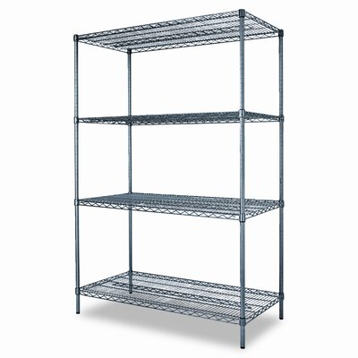 Alera® Industrial Wire Shelving Starter Kit, Four Shelves, 48w x 24d x 72h, Black